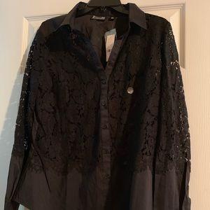 Shirt- Black Lace Button Down.